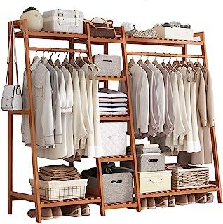 GWLGWL Portant Penderie à Vêtements en Bambou, 4 en 1 Porte-Manteaux pour Chambre à Coucher Couloir Salon, avec 9 Etagères...