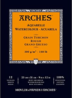 Arches Watercolor Paper Pad, 140 pound, Rough, 9