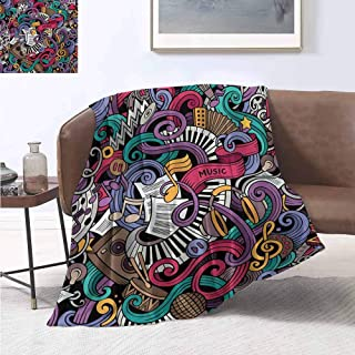 smllmoonDecor Doodle Lightweight Blanket Music Themed Hand Drawn Abstract Instruments Microphone Drums Keyboard Stradivarius Velvet Plush Throw Blanket 50