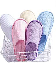 5 Pairs SPA Slippers,Assorted Color,Closed toe for Family,Guests,Travel,Hotel,Hospital,Washable,Portable,Disposable
