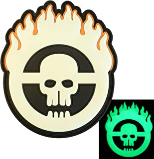 Glow Dark Mad Max Fury Road Skull Flames PVC Rubber 3D Fastener Patch