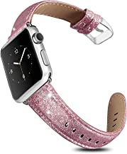 UMAXGET Compatible with Apple Watch Series 4 Band 42MM 44MM 38MM 40MM Series 5, Glittering Shiny TPU with PU Leather Bling Strap Compatible with iWatch Series 3/2/1 Wristband for Men Women