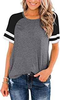 LASLULU Womens Short Sleeve Shirts Crew Neck Color Block Workout Top Casual Tunic Tops Athletic T-Shirt