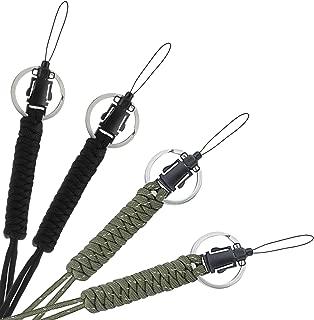 BRAVESHINE Paracord Lanyard - Military Grade Survival Tool - Tactical Keychain Lanyard Adjustable Parachute Cord Neck Strap for Keys, Camera, Waterproof Case, USB Driver, ID Badge Holder (Black+Olive)