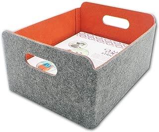 Welaxy Felt Storage Basket Foldable Storage Cube Baskets bin Shelf Bins Drawers Organizer bin Felt Box for Kids Toys Magazine Books Clothes Nursery Pets Toy (Orange)