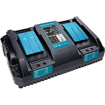 Hipoke DC18RD 互換充電器 2口充電器 対応 マキタ 14.4V/18VリチウムイオンバッテリBL1430 BL1440 BL1450 BL1460 BL1815 BL1830 BL1840 BL1850 BL1860 BL1430B BL1460B BL1830B BL1850B BL1860B など 2本同時に充電 急速充電 本体のみ 充電完了メロディー付き