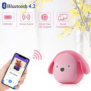 Dog Doggie Bluetooth Portable Speaker 5W Output Bass Stereo Personalized Cute Artistic Wireless Speaker for Home Party Cafe Bar Compatible for Desktop PC/Laptop/Mobile Phone (Rose)