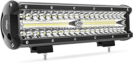 Nilight 12 Inch 300W Triple Row Flood Spot Combo 30000LM Bar Driving Boat Led Off Road Lights for Trucks,2 Years Warranty