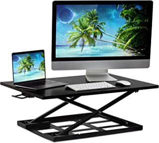 Mount-It! Standing Desk Converter, Height Adjustable Sit Stand Desk, 32x22 Inch Preassembled Stand Up Desk Converter, Ultra Low Profile Design, Black