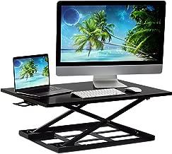 Mount-It! Standing Desk Converter, Height Adjustable Sit Stand Desk, 32x22 Inch Preassembled Stand Up Desk Converter, Ultra Low Profile Design, Black