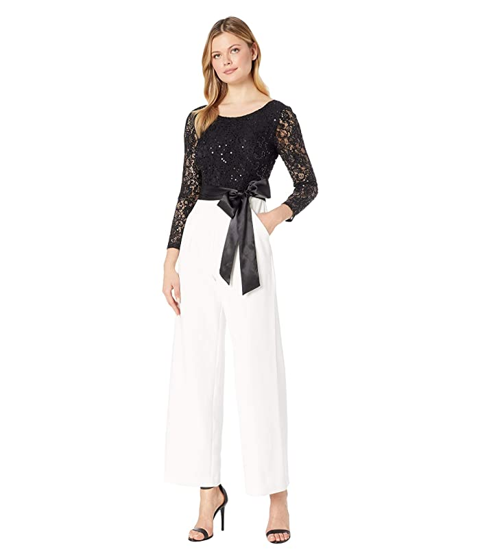 Tahari by ASL  Long Sleeve Sequin Top Jumpsuit with Solid Stretch Crepe Pants (Ivory/Black) Womens Jumpsuit and Rompers One Piece