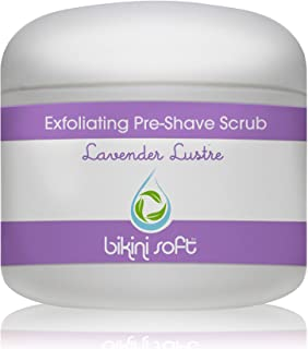 BIKINI SOFT Lavender Lustre Pre-Shave EXFOLIATING Body Scrub (4 oz) - Organic Shea Butter & Organic Oils with Cane Sugar - SMOOTHEST Shave Ever -Perfect for Sensitive Skin