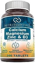 Nutri Essentials Calcium Magnesium Zinc + Vitamin D3 300 Tablets- Promotes Strong Bones & Teeth, Support Nerve & Muscle Function*