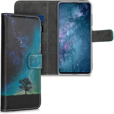 Kwmobile Hülle Kompatibel Mit Samsung Galaxy A51 Kunstleder Wallet Case Mit Kartenfächern Stand Galaxie Baum Wiese Blau Grau Schwarz Elektronik