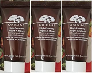 Origins High Potency Night-A-Mins Mineral Enriched Renewal Cream ~ Travel Size Trio ~ 0.5 fl oz each/total 1.5 fl oz