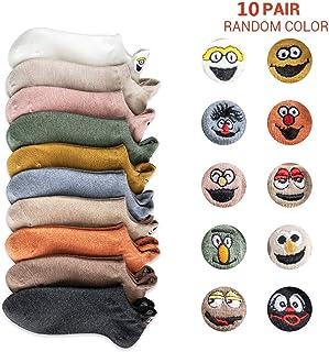 5 pares de calcetines de dibujos animados lindos para mujer, calcetines de expresión bordados de dibujos animados divertidos, calcetines de tobillo de mezcla de algodón suaves y transpirables