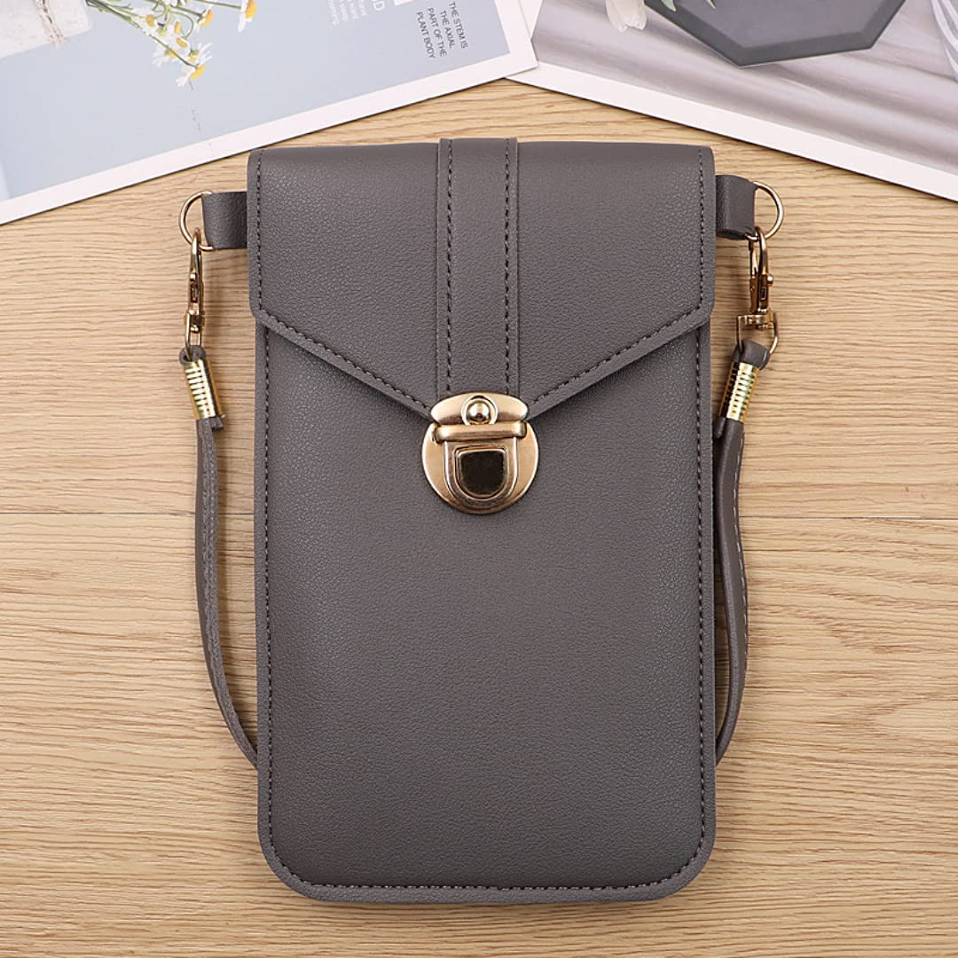 ISYSUII Crossbody Case for Samsung Galaxy A02 Wallet Case Touch Screen Cell Phone Purse with Credit Card Holder Strap Lanyard Leather Handbag Case for Women Girls,Dark Gray