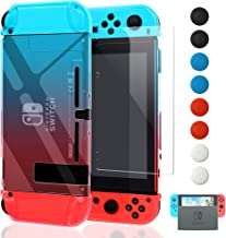 Dockable Case Compatible with Nintendo Switch,FYOUNG Protective Accessories Cover Case Compatible with Nintendo Switch and Nintendo Switch Joy-Con with a Tempered Glass Screen Protector - Blue and Red