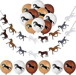 Horse Garland Banner Horse Latex Balloons Horse Racing Streamer Horse Party Garland for Horse Racing Birthday Wedding Part...