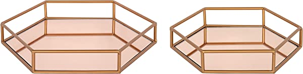 Kate And Laurel Felicia Nesting Metal Mirrored Decorative Trays 2 Piece Rose Gold
