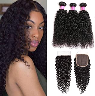 JOSUA hair Brazilian Kinky Curly Bundles with Closure (14 16 18+12) 4x4 9A 100% Unprocessed Human hair 3 Bundles with Lace Closure Free Part Natural Color