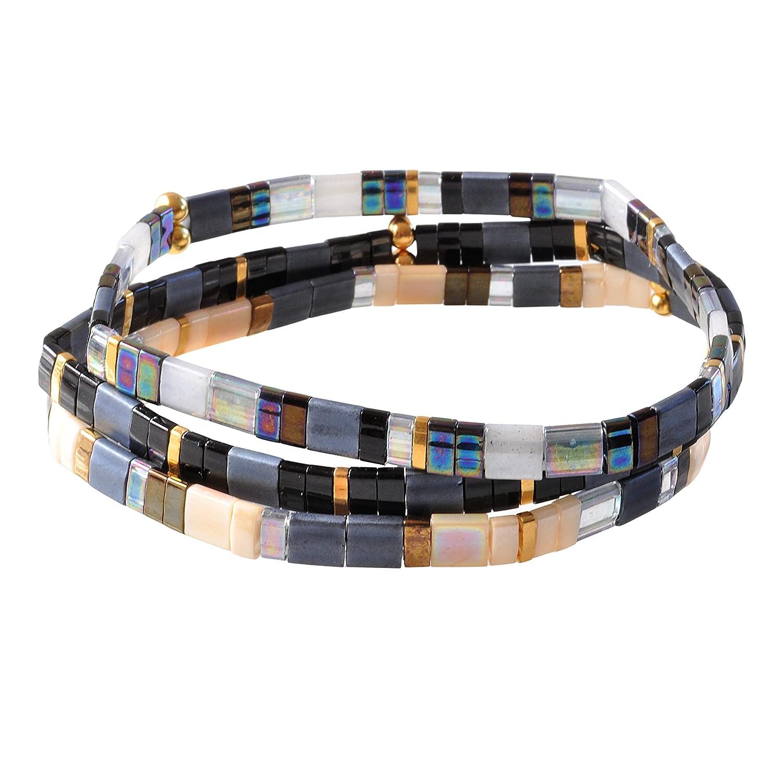 Max 42% OFF Blue Grey Tile Bracelet Set with 3 Black Gold Slate and Tila Bea San Jose Mall