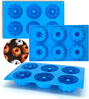 Lot de 3 moules à gâteau en silicone - Moule à pâtisserie en forme de cercle - 6 cavités - Anti-adhésif - Résistants à la ...