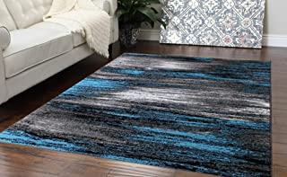 Masada Rugs, Modern Contemporary Area Rug, Blue Grey Black (5 Feet X 7 Feet)