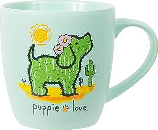 Pavilion Gift Company Bone China 17 Oz Mug-Puppie Love Sunny Cactus Dog, Green