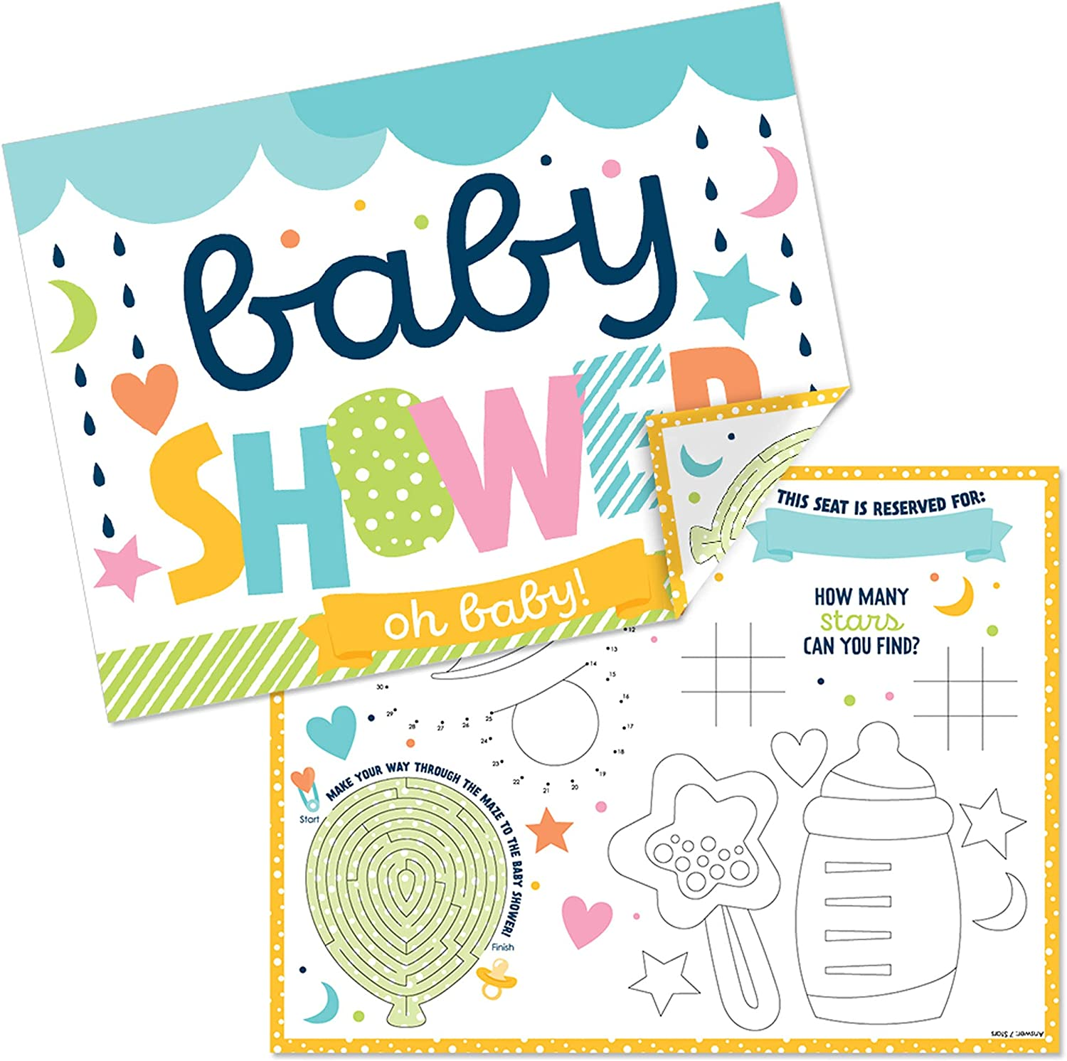 Big Dot of Happiness Colorful Baby Shower - Paper Gender Neutral Party Coloring Sheets - Activity Placemats - Set of 16