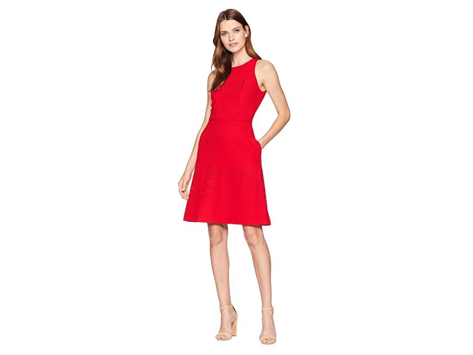 Tahari by ASL Lasercut Fit-and-Flare Dress (Red) Women