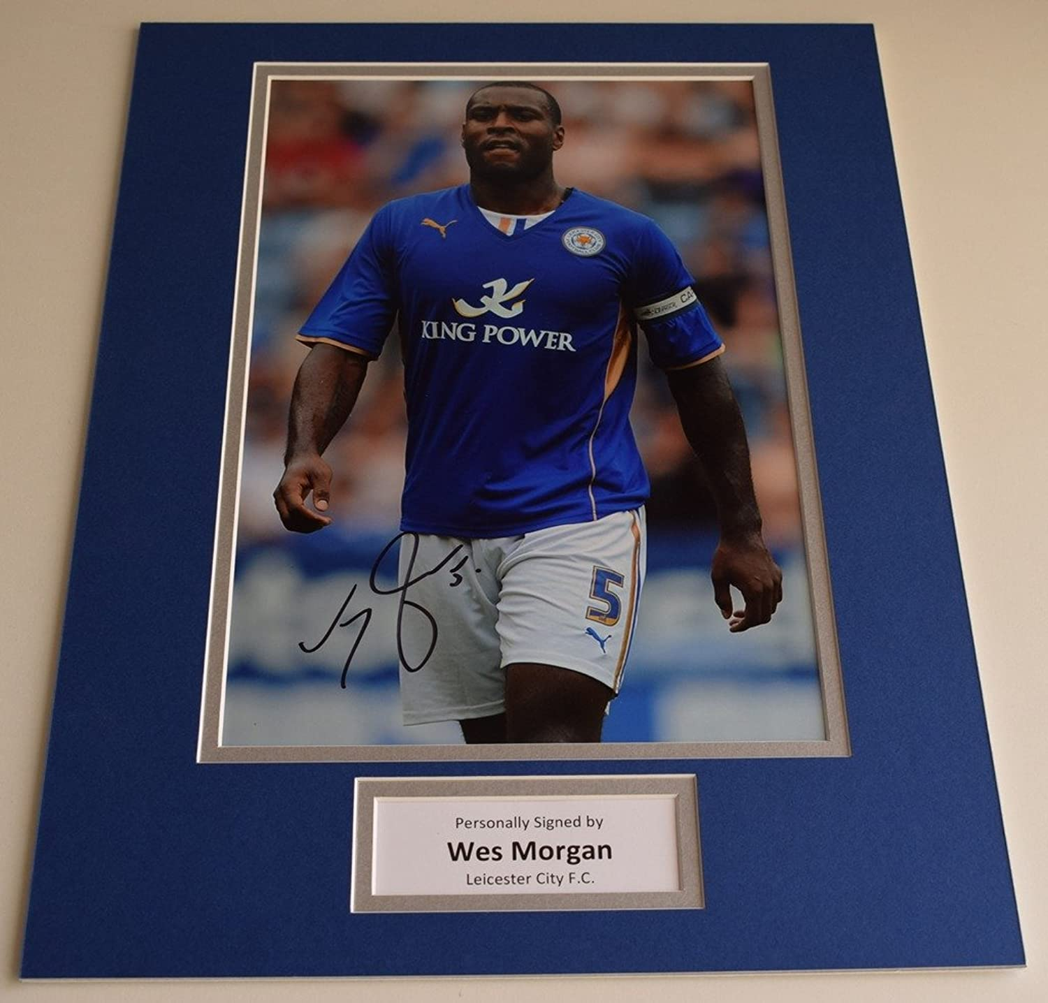 Sportagraphs Wes Morgan SIGNED autograph 16x12 photo display Leicester City FC AFTAL & COA PERFECT GIFT