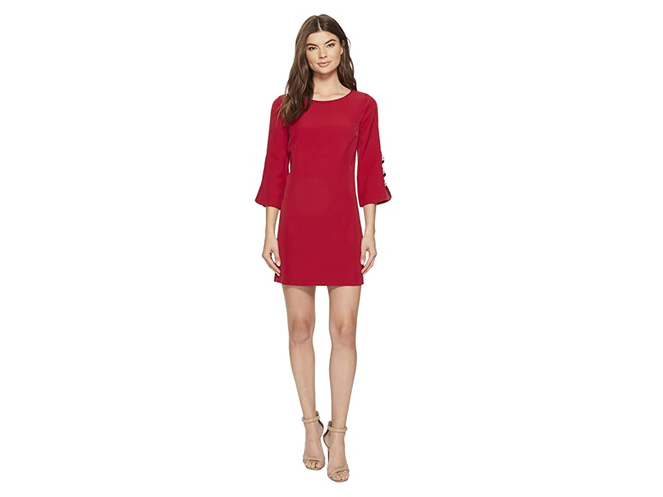 Laundry by Shelli Segal Crepe Shift with Pearl Button Sleeve (Ruby Lipstick) Women