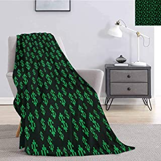 Luoiaax Money Plush Blanket for Bed Couch Pixel Art Inspirations in Eighties Style Dollar Sign Banking Business Soft Throw Blankets for Adults W70 x L84 Inch Dark Green Lime Green