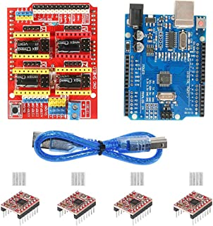 Aokin Arduino CNC Shield Contoller Kits for 3D Printer, CNC Shield Expansion Board V3.0 +UNO R3 Board + A4988 Stepper Motor Driver with Heatsink for Arduino Kits K75 GRBL