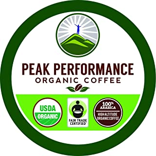 Organic K Cups - Peak Performance High Altitude Organic Coffee Pods. High Performance K Cup Coffee for High Performance Individuals. Fair Trade Organic Beans Medium Roast Single Serve Keurig 24 KCups