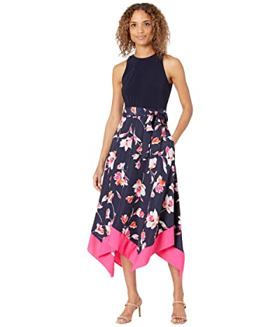 Vince Camuto Printed Crepe De Chine Twofer Midi Handkerchief Hem with Jersey Bodice (Navy Multi) Women