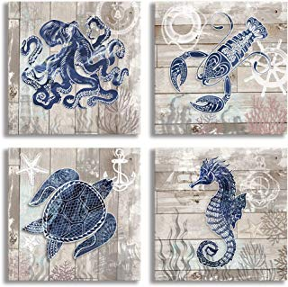 """4 Piece Canvas Wall Art Home Wall Decor Art Ocean Watercolor Sea World Animal Home Sea Turtle Seahorse Octopus Pictures Modern Artwork Stretched and Framed Ready to Hang Size:12""""x12""""x4 Panels"""