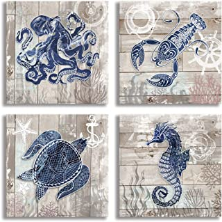 4 Piece Canvas Wall Art Home Wall Decor Art Ocean Watercolor Sea World Animal Home Sea Turtle Seahorse Octopus Pictures Modern Artwork Stretched and Framed Ready to Hang Size:12