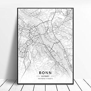Impresiones Sobre Lienzo Bonn Alemania Blanco Y Negro City Art Canvas Poster Moderno..