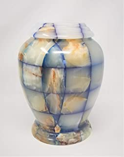 Eternitymart Real Natural Marble Cremation Urn for Human Ashes - Adult Funeral Urn - Affordable Urn for Ashes - Large Urn Deal. (Blue Checked Kylix)