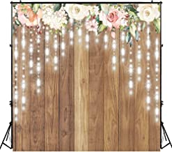 Funnytree 8x8ft Durable Fabric Floral Rustic Wooden Wall Party Backdrop No Wrinkles Wedding Retro Wood Floor Photography Background Glitter Flower Bridal Shower Baby Birthday Banner Photobooth Props