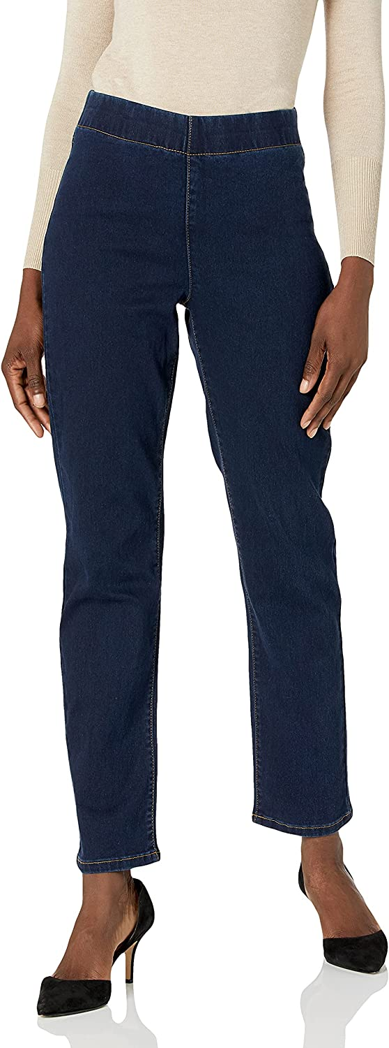 Kasper Women's Pull on Straight Leg Polsihed Denim Pant with Back Pocket Top Stitch Detail