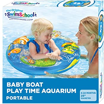SwimSchool Aquarium Baby Pool Float, Baby Boat with Activity Centers, Safety Seat, Inflatable Pool Float, 6 to 18 Months, Blue, SSB3413