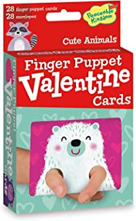 Peaceable Kingdom Valentines 28 Finger Puppet Cute Animal Cards with Envelopes