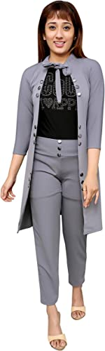 Girls Multi Color Cotton Lycra Stretchable 3 Piece Shrug Dress