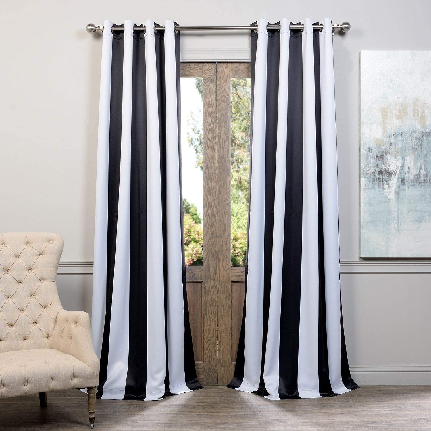HPD HALF PRICE DRAPES BOCH-KC43-108-GR Awning Stripe Grommet Room Darkening Curtain 50 x 108 Awning Black & White 1 Panel