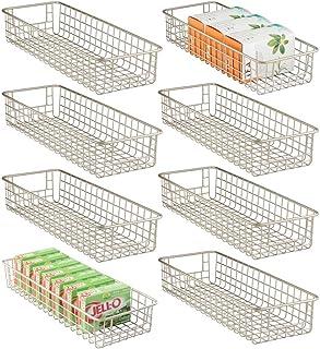 mDesign Household Wire Drawer Organizer Tray, Storage Organizer Bin Basket, Built-In Handles - for Kitchen Cabinets, Drawe...