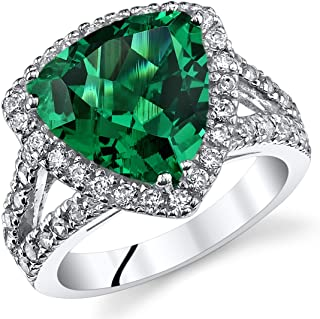 5.00 Carats Trillion Cut Simulated Emerald Cocktail Ring Sterling Silver Sizes 5 to 9