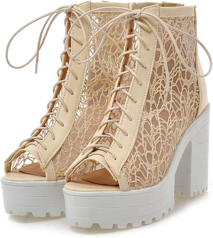 Merry-Heart Summer Peep Toe high Square Heels Platform Roman Sandals Women,